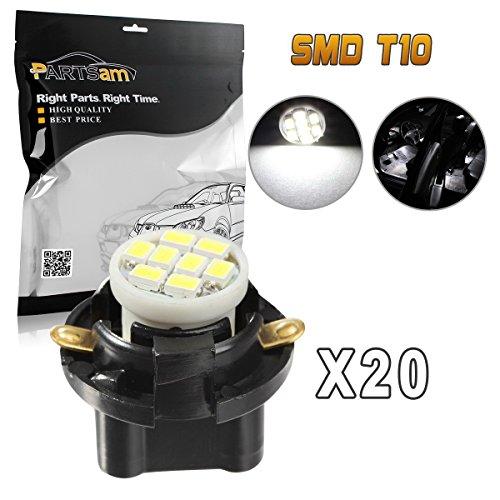Partsam 20pcs White T10 194 168 LED Light Bulb 8-Epistar-SMD With Sockets Instrument Panel Speedometer Odometer Lighting Indicators Lamp