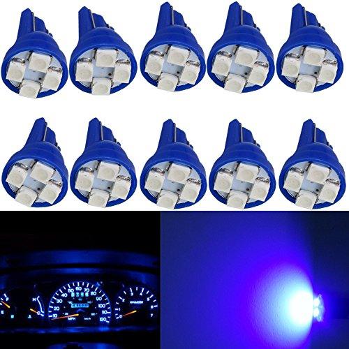 WLJH 10pcs T10 W5W 168 194 Wedge LED Light Bulb 4 SMD 1210 Chip Instrument Panel Lights Speedometer Odometer Dash Gauges Lighting Dashboard Indicator Lamps Bulbs Blue