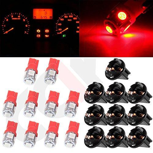 CCIYU 10x T10 5050 SMD Tri-Cell Red SMD LED Chips Dashboard Dash Gauge Instrument Panel Light wSocket Total of 20 Pcs
