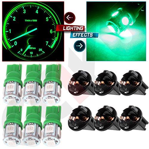 CCIYU T10 5050 SMD Tri-Cell Green SMD LED Chips Dashboard Dash Gauge Instrument Panel Light wSocket Total of 12 Pcs