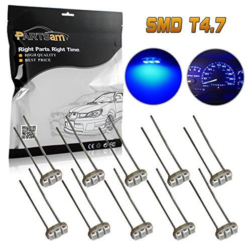 Partsam 10PCS Blue T47 Instrument Panel LED Light Gauge Cluster Bulbs Dashboard Indicator Lamp Repair Kit for 03 04 05 06 Chevy GMC