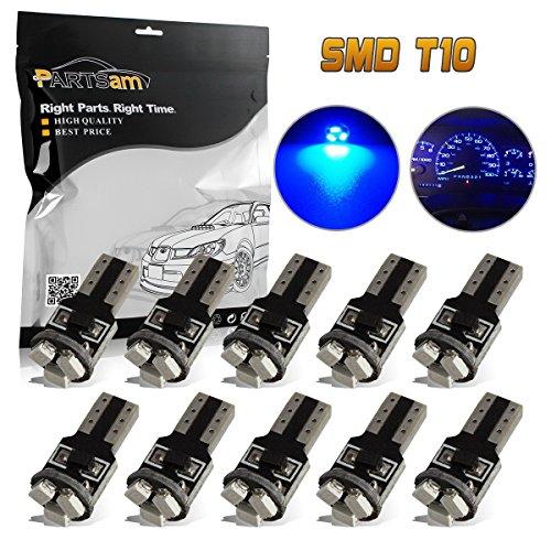 Partsam 10X Blue T5 74 2721 LED Bulbs Speedometer Dash Gauge Light 17 18 37 70 3SMD