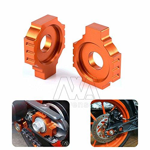 Orange Motorcycle Dirt Bike CNC Aluminum Rear Axle Spindle Chain Adjuster Blocks For KTM DUKE 390 13-15 DUKE 125200 RC 390 2014-2015 RC 125200