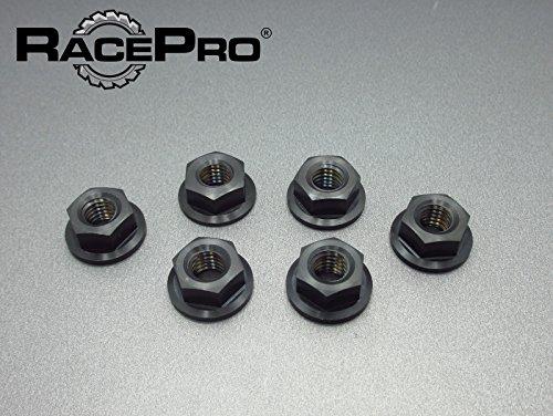 RacePro - 6x M10 x 125 Black Gr5 Titanium Flange Nuts Metric Fine Yamaha Sprocket