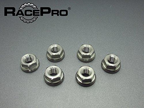 RacePro - 6x M10 x 125 Gr5 Titanium Flange Nuts Metric Fine Yamaha Sprocket