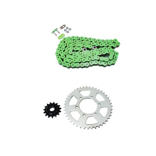 Green O-Ring Chain and Sprocket Kit for Kawasaki ZX600 Ninja 600 ZX-6RR 2005 2006
