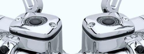 i5 Chrome Front Brake Clutch Fluid Reservoir Caps to fit Harley Davidson