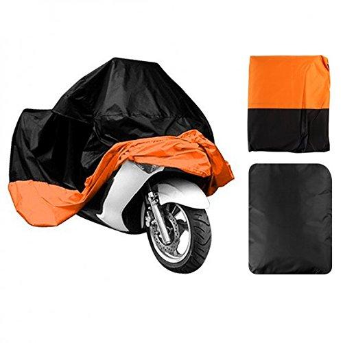 LEANINGTECH All Season Black&Orange Waterproof Sun Motorcycle cover Fits up to 108 Harley Davison Honda Suzuki Kawasaki YamahaStreet Glide Touring and More XX Large