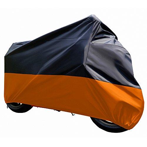 Tokept Black and Orange Waterproof Sun Motorcycle cover XXXL116 for Honda Kawasaki Yamaha Suzuki Harley Davidson
