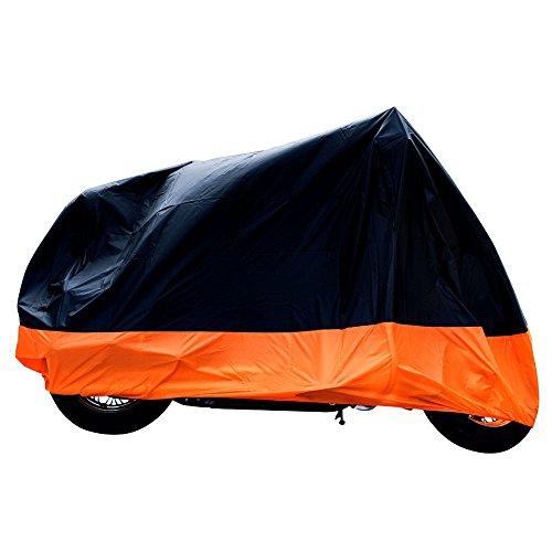 XYZCTEM All Season Black&Orange Waterproof Sun Motorcycle coverFits up to 108 Harley DavisonHondaSuzukiKawasakiYamaha and More XX Large