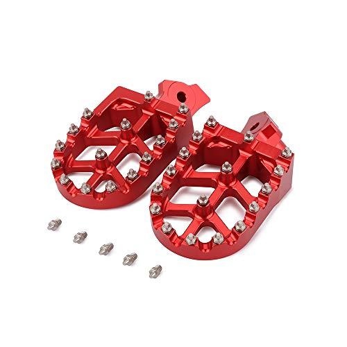 Motorcycle Foot Pegs Rest Pedal Footpegs For Honda Z50R 80-99 XR50R 00-03 XR70R 97-03 XR80R XR100R 85-03 CRF80F CRF100F 04-13 Kawasaki KLR650 KL650 1987-2007 Dirt Bike - Red