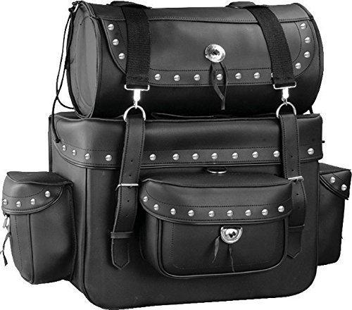 Motorcycle Sissy Bar Touring Luggage w Studs 2 Piece Bag Set Harley Cruiser Black