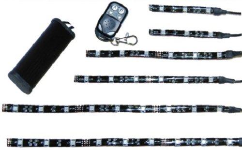 OCTANE LIGHTING 6pc ORANGE LED Motorcycle Lighting Neon Body Engine Glow Lights Strips Remote Kit