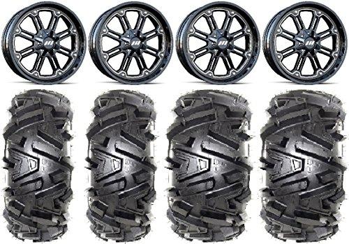 Bundle - 9 Items MSA Black Throttle 14 ATV Wheels 26 Moto MTC Tires 4x156 Bolt Pattern 38x24 Lug Kit