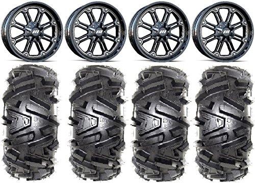 Bundle - 9 Items MSA Black Throttle 14 ATV Wheels 27 Moto MTC Tires 4x110 Bolt Pattern 10mmx125 Lug Kit