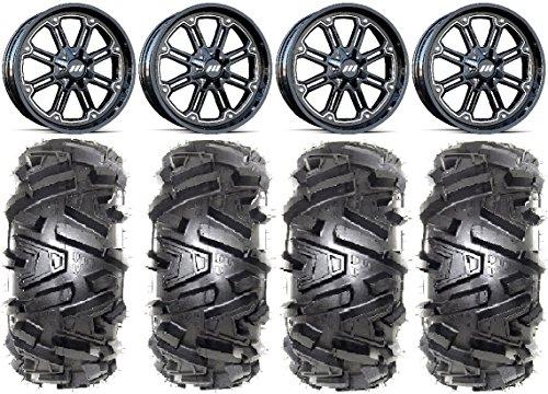 Bundle - 9 Items MSA Black Throttle 14 UTV Wheels 28 Moto MTC Tires 4x110 Bolt Pattern 12mmx125 Lug Kit
