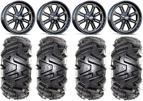 Bundle - 9 Items MSA Black Throttle 16 UTV Wheels 30 Moto MTC Tires 4x110 Bolt Pattern 12mmx125 Lug Kit
