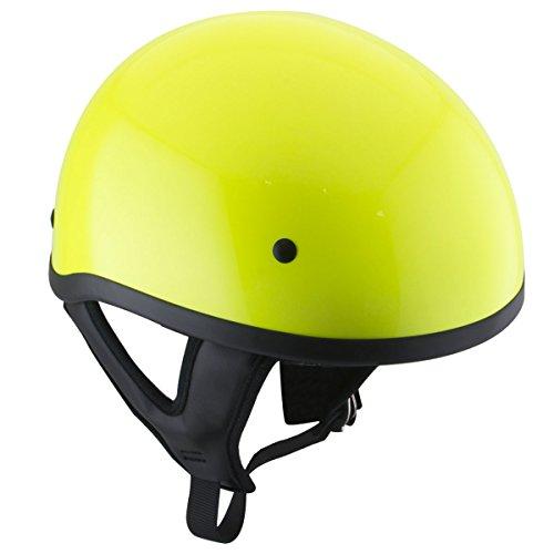 Outlaw T68 DOT Hi-Vis Yellow Motorcycle Skull Cap Half Helmet - X-Large