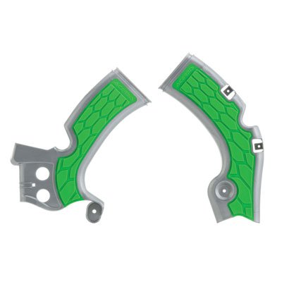 Acerbis X-Grip Frame Guards SilverGreen for Kawasaki KX450F 2009-2018