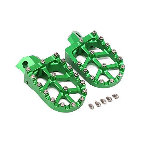 Foot Pegs Footpegs Foot Pedals Rests Billet MX Wide CNC For Kawasaki KDX200200R220R250 KX125250500 Dirt Bike Green