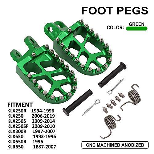 Motorcycle Foot Rest Footpegs Foot Pegs Pedal CNC For Kawasaki KLX250R 94-96 KLX250 06-19 KLX250S 09-14 KLX250SF 09-10 KLX300R 97-07 KLX650 93-96 KLX650R 96 KLR650 87-07 - Green
