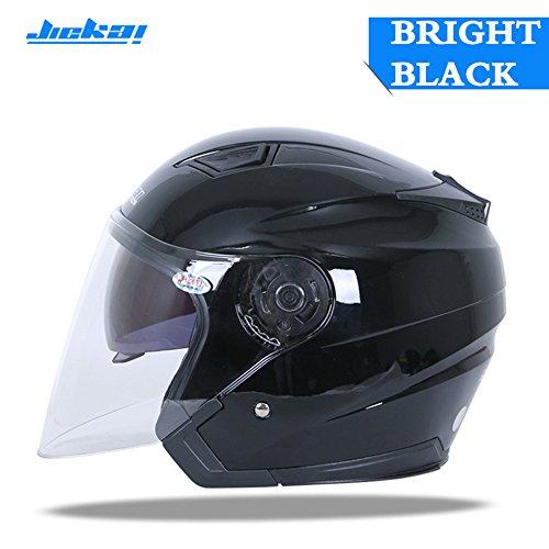 JIEKAI Motorcycle Helmet JK-516 Open Face Motorbike Street Bike Moped 34 Half Helmet DOT Approved with Sun Visor and Washable Liner for Men and Women Black L