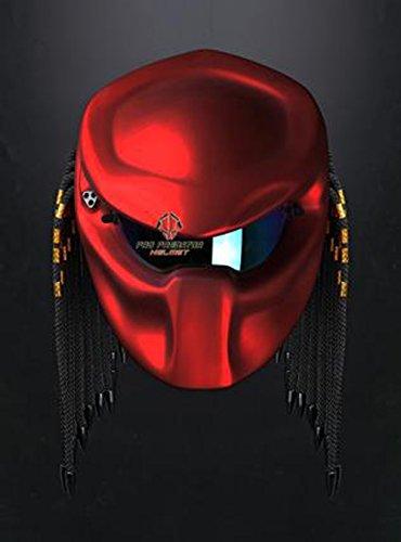 Version 2 Custom Handmade Predator Motorcycle Dot Approved Helmet Metallic Red XL