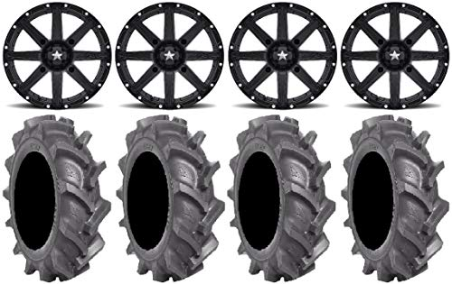 Bundle - 9 Items MSA Black Clutch 14 ATV Wheels 30 BKT AT 171 Tires 4x156 Bolt Pattern 38x24 Lug Kit