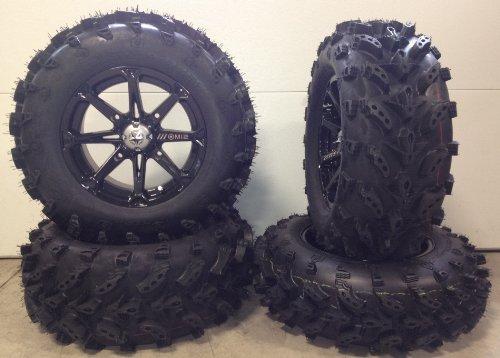 Bundle - 9 Items MSA Black Diesel 14 ATV Wheels 27 Swamp Lite Tires 4x156 Bolt Pattern 38x24 Lug Kit