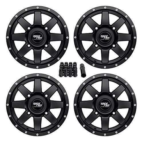 RockTrix RT106 14in ATV Wheels Rims 14x7 Matte Black  4x137  52 Offset  includes 10x125 Spline Lug nuts  for Kawasaki Teryx Mule Can-Am Maverick Commander Renegade Outlander 4137 - Set of 4