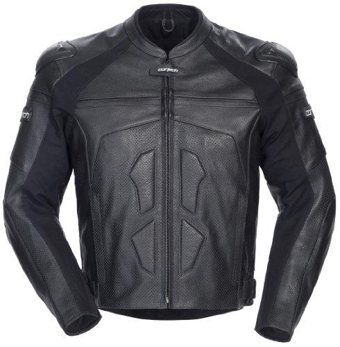 Cortech Adrenaline Mens Leather On-Road Racing Motorcycle Jacket - Black  Medium