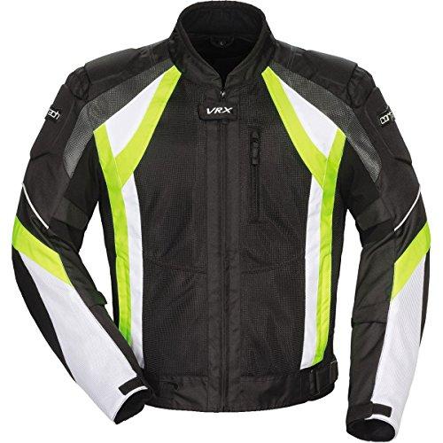 Cortech VRX Air Adult Vented Textile Road Race Motorcycle Jacket - BlackHi VizWhite  Medium