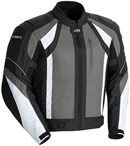 Cortech VRX Mens Textile Armored Motorcycle Jacket GunBlackWhite Large