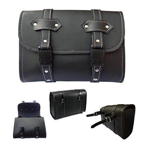 2Fit Motorcycle Tool Bags Sissy Bar Bag Handlebar Saddle Bag PU Leather Storage New