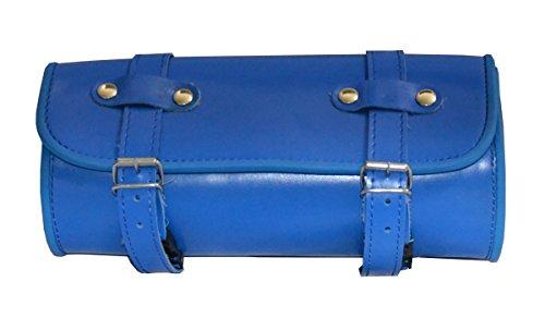 Leather Motorcycle Tool Bag Quick Release Buckle Belts Waterproof Universal Roll Bag Rk-210-C Blue