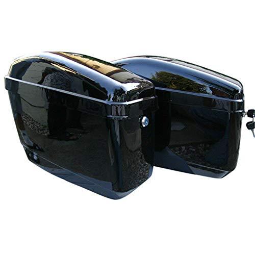 Black Motorcycle Hard Saddlebags Trunk Saddle Bags WMounting bracket For Yamaha Honda Shadow Kawasaki Vulcan VN Black