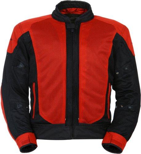 TourMaster Flex Series 3 Mens Convertible Textile Armored Motorcycle Jacket RedBlack Medium