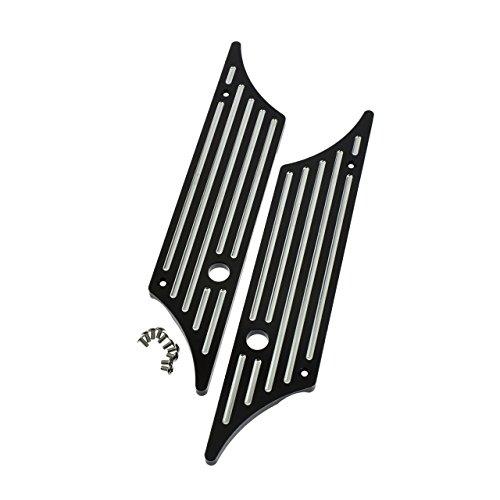 Rebacker Motorcycle Hard Billet Saddlebag Latch Covers Black for Harley Touring Models Hard Bags 1993-2013 Black