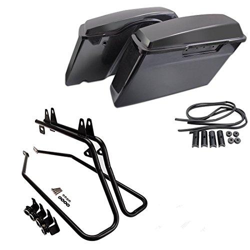 TJMOTO Unpainted Black Saddle Bag Quality Hard ABS Saddlebag W Conversion Brackets For 1994-2013 Harley Davidson Softail