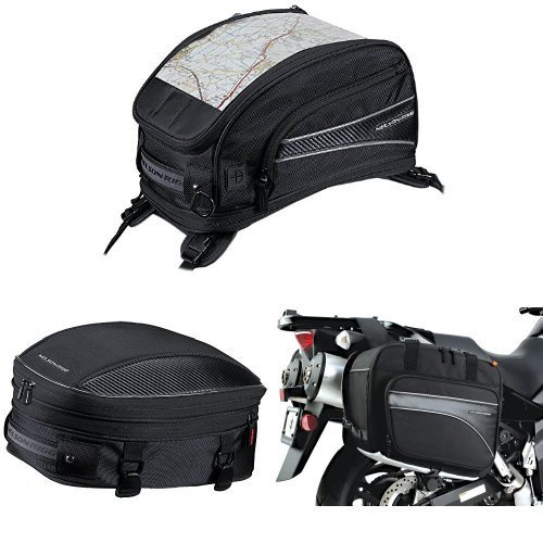 Nelson-Rigg CL-2015-ST Black Strap Mount Journey Sport Tank Bag  CL-1060-S Black Sport TailSeat Pack  and  CL-855 Black Touring Adventure Saddlebag Bundle