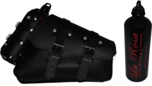 La Rosa 04-UP Harley Sportster Right Side Saddle Bag Black Clasick with Fuel Bottle