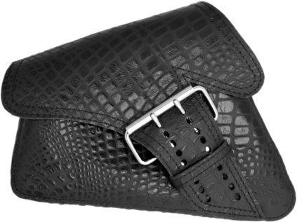 La Rosa Design 04-UP Harley Sportster Nightster 883 Iron 1200XL Left Side Saddle Bag Swingarm Bag - Black Alligator