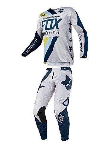 Fox Racing 2018 360 Draftr JerseyPants Adult Mens Combo Offroad MX Gear Motocross Riding Gear Light Gray